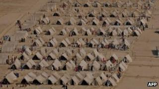 Temporary shelter for flood victims in Pakistan