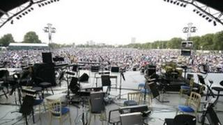 View from the stage of Proms in the Park