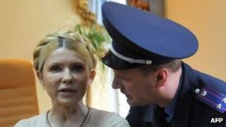 Yulia Tymoshenko at her trial in October
