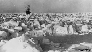 The Nimrod navigating through pack ice in 1908