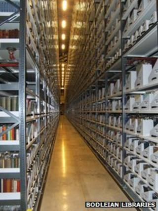 Filled shelves at the Bodleian Libraries Book Storage Facility at Swindon