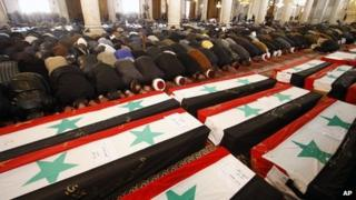 Funerals at the Umayyad Mosque, Damascus, 24 Dec