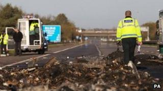 The scene of a motorway crash