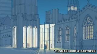 Artist impression of new entrance at Sheffield Cathedral