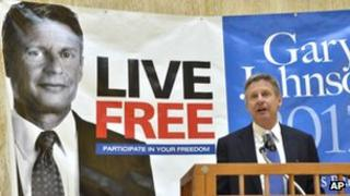 Libertarian Party presidential candidate Gary Johnson 28 December 2011