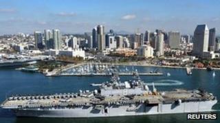 USS Makin Island sails past San Diego 14 November 2011