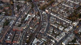 Aerial shot of train line in London