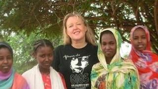 Orla Sheehan with children in Kenya