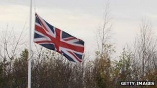 Union Jack at half-mast