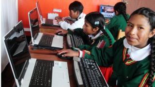 Schoolchildren in Torani at their computer class