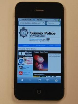 iPhone showing Sussex Police website