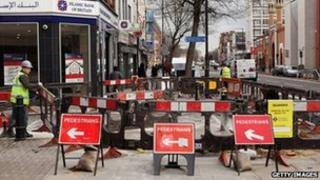 Roadworks in east London