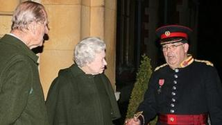 Dr Tim Thirst with Prince Philip and The Queen at Sandringham