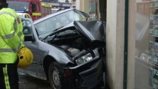 Car crash in Okehampton