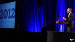 US President Barack Obama speaks at a campaign event in Washington, DC, on 13 December 2011