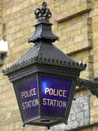 A police station lamp