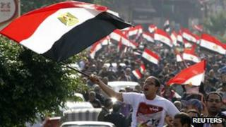 People protest against the Egyptian military council in Alexandria