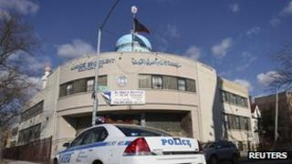 A police car in front of Imam Al-Khoei Foundation in Queens, New York 2 January 2012