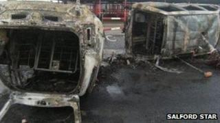 Torched BBC Radio Manchester radio car (pic courtesy of Salford star)