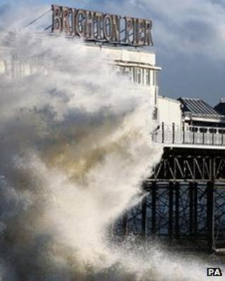 Brighton Pier in storm