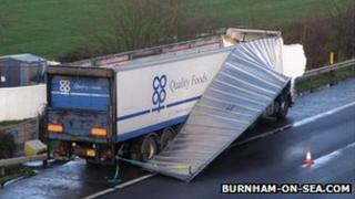 M5 lorry top blown off on 3 Jan 2012 M5