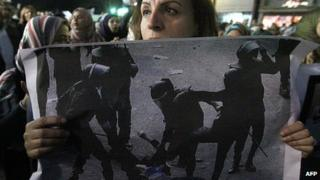 Cairo rally against brutal treatment of female protester. 20 Dec 2011