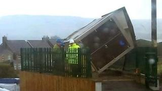 Wind damaged gas shelter