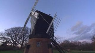 Damaged windmill at the Avoncroft Museum