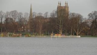 Flooding on the King George V playing fields in Hereford
