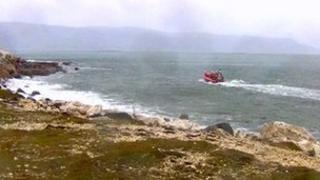 RNLI lifeboat on coast
