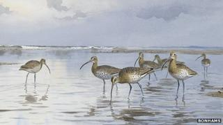 Curlews at Holkham Gap by JC Harrison