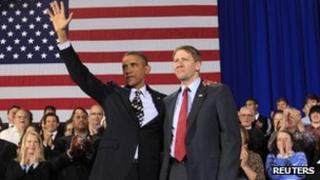 President Barack Obama with Richard Cordray during a trip to Cleveland, Ohio 4 January 2012