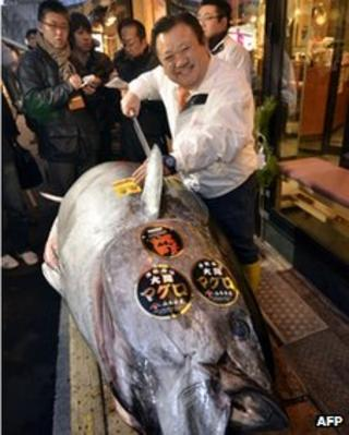 Sushi restaurant chain owner Kiyoshi Kimura poses next to a 269 kilogram blue fin tuna he purchased on the first trading day of the new year at Tokyo's Tsukiji fish market on January 5, 2012