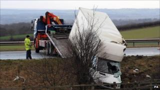 A van is recovered from the side of the A1 near Boroughbridge, North Yorkshire