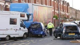Crash scene in Queens Park Road, Brighton (Photo by Eddie Mitchell)