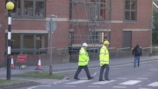 Workmen at Wokingham council offices
