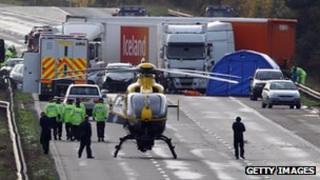 M5 crash near Taunton, November 2011