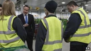 David Cameron visiting Waitrose distribution centre in Bracknell