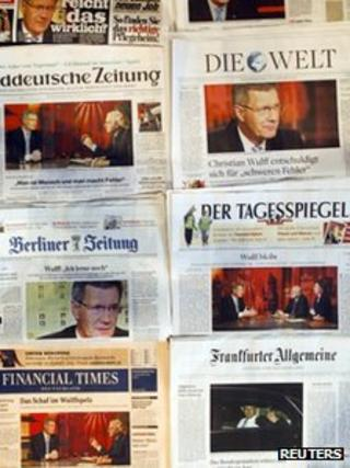 German newspapers on Wulff scandal