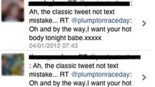 Screen grab of Jason Hall's message