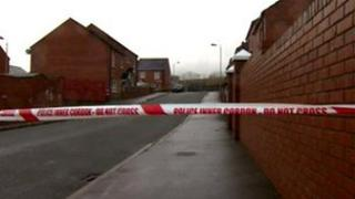 Police tape at bomb find scene