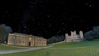 Computer-generated image of night sky over Wollaton Hall