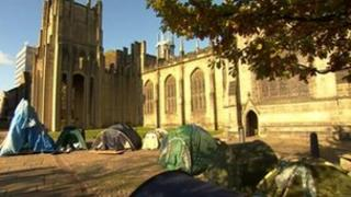 Occupy Sheffield protest at Sheffield Cathedral