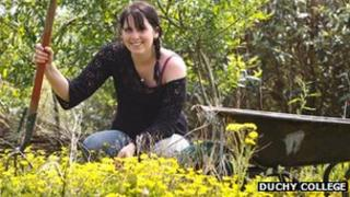 Horticulture student Roxy Harrison in the college grounds