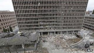 A government building shattered by the Oslo bombing, 23 July 2011