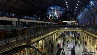 A general view of the Olympic rings welcoming visitors to St Pancras International Station in London