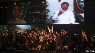 Pervez Musharraf addressing Karachi rally via video link from Dubai