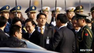 South Korean President Lee Myung-bak arriving at Beijing airport on 9 January, 2012