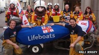 Lifeboat crew who took part in the boat pull