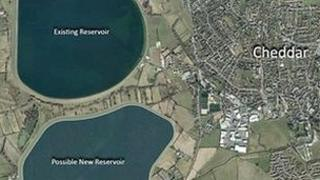 An artists' impression of the possible site for a new reservoir in Cheddar, Somerset